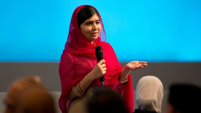 "Malala Yousafzai speaks during the ""Supporting Syria and the Region"" conference at the Queen Elizabeth II Conference Centre in London on Feb. 4."