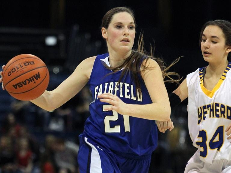 Kourtney Coverdell of Fairfield takes it to the hoop Friday night at the State B tourney in Bozeman.