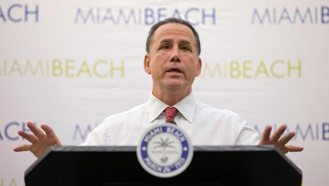 Mayor of Miami Beach, Fla., Philip Levine, speaks during a news conference Friday, Aug. 19, 2016, in Miami Beach, Fla. U.S. health officials are warning pregnant women to avoid Miami Beach, where Florida officials say mosquitoes have spread the Zika virus to five people.