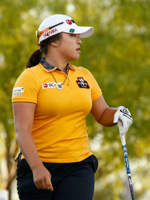 Ha Na Jang watches her drive on the first hole during the second round of the JTBC Founders Cup at Wildfire Golf Club at JW Marriott Phoenix Desert Ridge Resort & Spa in Phoenix on Friday.