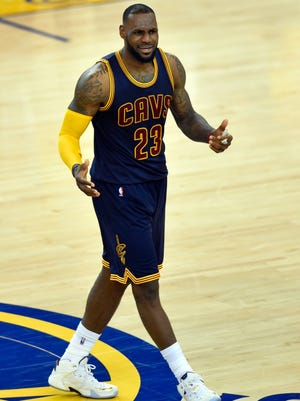 Cleveland Cavaliers forward LeBron James scored 44 points in Game 1 of the 2015 NBA Finals. That's the most points he's ever scored in an NBA Finals game.