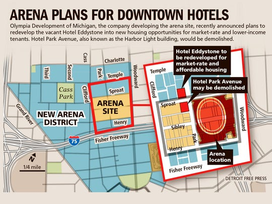Arena plans for downtown hotels