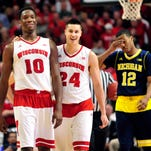 David Banks/USA TODAY SportsWisconsin's Nigel Hayes (10) and Bronson Koenig relax near the end of the Badgers' victory over Michigan on Friday in Chicago. Mar 13, 2015; Chicago, IL, USA; Wisconsin Badgers forward Nigel Hayes (10) and guard Bronson Koenig (24) share a laugh late in the game during the second half in the quarterfinals of the Big Ten Tournament at the United Center. The Wisconsin Badgers defeated the Michigan Wolverines 71-60. Mandatory Credit: David Banks-USA TODAY Sports