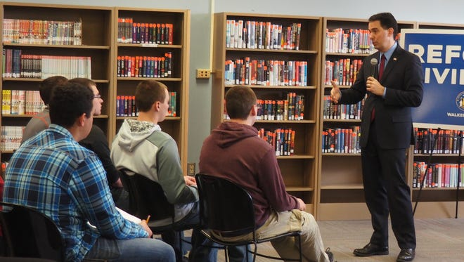 Governor Scott Walker speaks to students Thursday at Oakfield High School.