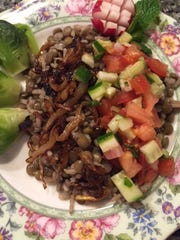 Farro with argula and veggies