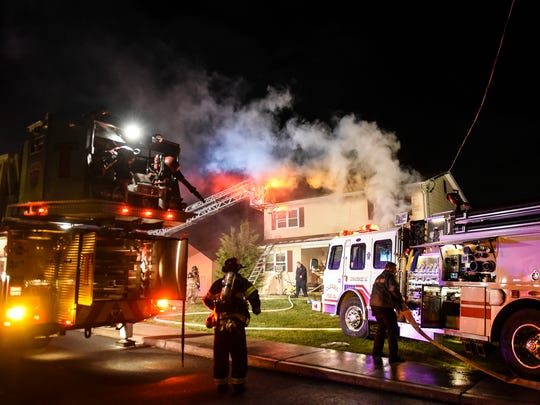 Emergency crews battle a fire on Mill Street in Annville Township on Saturday, March 11, 2017. The fire, which was caused by arson, resulted in $80,000 in damage according to Annville-Cleona Assistant Fire Chief Michael Borrell.