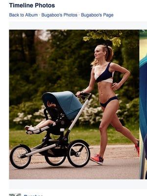 Ymre Stiekema runs with her daughter in a Bugaboo stroller advertisement.