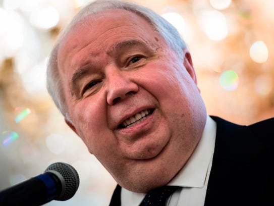 Sergey Kislyak speaks during a chess tournament at