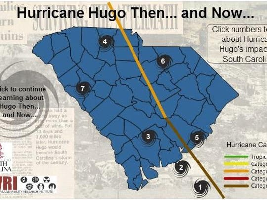 An interactive map of Hurricane Hugo's impact on South Carolina on the website of the Hazards and Vulnerability Research Institute at the University of South Carolina