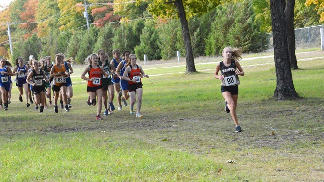 The girls Eastern U.P. I cross country event begins at the Chippewa County Fairgrounds Monday. Wisteria Brady of St. Ignace won the girls race and the Saints led the girls team scoring.
