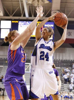 Drake starting guard/forward Ashley Bartow, right, has left the team for undisclosed reasons.