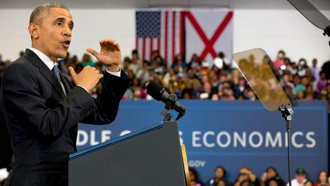 President Obama speaks about the economy and payday lending Thursday, at Lawson State Community College in Birmingham, Ala.