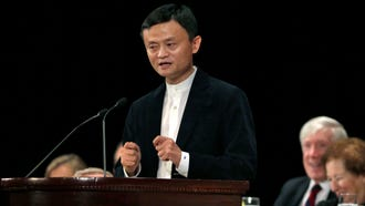 Alibaba Executive Chairman Jack Ma speaks during a luncheon of the Economic Club of New York, at the Waldorf Astoria Hotel, in New York, Tuesday, June 9, 2015.