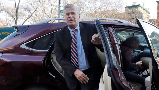 Former New York state Senate leader Dean Skelos arrives at Federal court, in New York, Friday, Dec. 11, 2015.