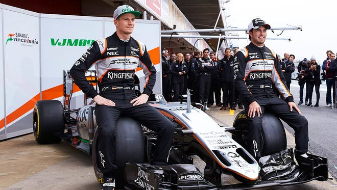 Force India's Nico Hulkenberg, left and Sergio Perez  say they hear very little difference between the 2016 cars and last season's cars.