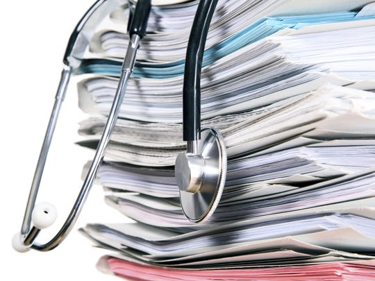 Getty images Stethoscope is lying on papers