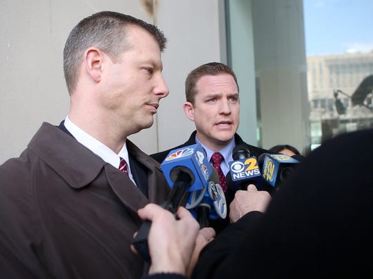Stephen Riebling and David Sachs talk to the press after the conviction of their client, Lacey Spears with 2nd degree murder of her son Garnett Spears, at the Westchester County Courthouse in White Plains on March 2, 2015.