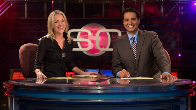 Lindsay Czarniak, left, and Kevin Negandhi on the set of SportsCenter.