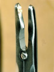 This ronguer, used to cut bone, contained fragments from another surgery when delivered to a Children's Hospital operating room.