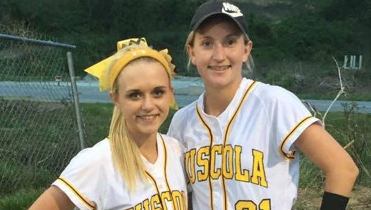 Tuscola catcher Heather Carver, left, and Melody Hannah.