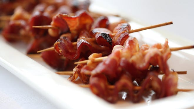 To serve as a brunch item, skewer the bacon and drizzle with maple syrup.