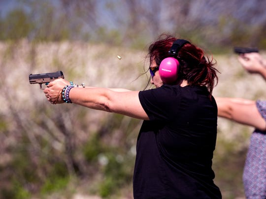 """Debra Fernandez, a teacher at A.C. Blunt Middle School in Aransas Pass, takes a Texas Handgun Licensing Course at the Schwenke's Rifle & Pistol Range in Aransas Pass given by the Aransas Pass Police Department on Saturday, March 10, 2018, for Aransas Pass Independent School District staff. She said she's been trying to get her license for awhile and when she found out she could take the class for free it was more incentive to take the class. While the district hasn't decided whether it will allow staff to carry on school property, she said she made the decision for her personal protection and would also be willing to protect her students. """"I always have a personal responsibility to my students,"""" Fernandez said."""