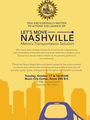 Mayor Megan Barry plans to unveil her transit plan for Nashville on the morning of Oct. 17.