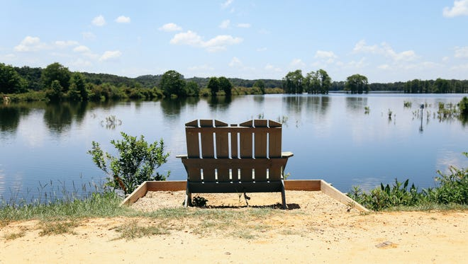 Benches along the trails allow visitors to catch their breath and take in views of Piney Z Lake.