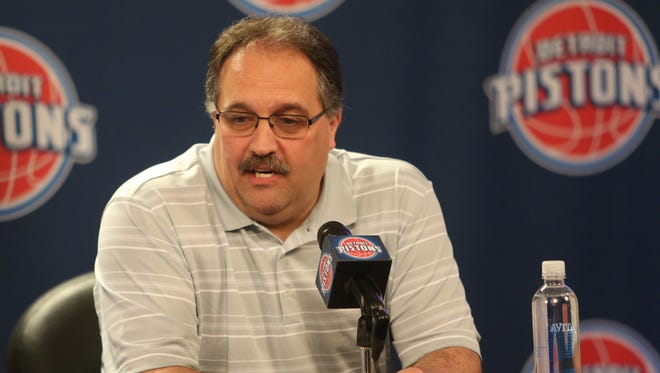 Detroit Pistons head coach and president Stan Van Gundy talkes with reporters about his first season with the team on Thursday, April 16,2015 at The Palace of Auburn Hills.