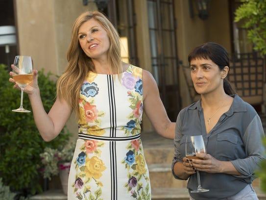 "Connie Britton (left) and Salma Hayek star in ""Beatriz"
