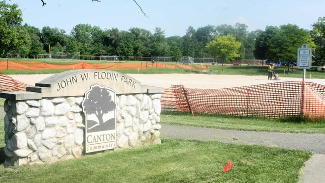Flodin Park's tennis courts and basketball court are being redone.