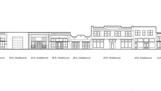 The rendering shows what the fronts of the 10 buildings David Mazur is renovating along North Chadbourne will look like once finished.