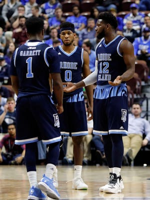 Rhode Island Rams forward Hassan Martin (12) reacts after a play against the Duke Blue Devils in the second half at Mohegan Sun Arena. Duke defeated Rhode Island 75-65.