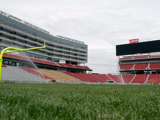 The newly-installed turf covers the field at Levi's Stadium during a preview tour on April 21, 2014, in Santa Clara, Calif.