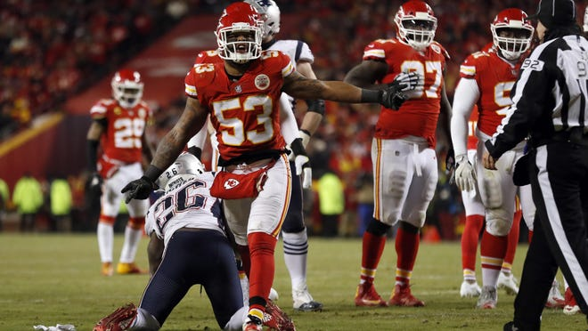Kansas City Chiefs linebacker Anthony Hitchens (53) reacts after tackling New England Patriots running back Sony Michel (26) during the AFC Championship game Jan. 20, 2019, at Arrowhead Stadium in Kansas City.