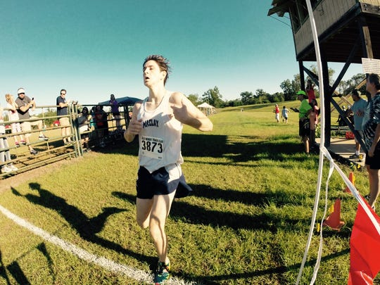 Maclay junior Jake Mazziotta crossed the finish line in third place for the winning Marauders boys team at the Aucilla Warrior Stampede.