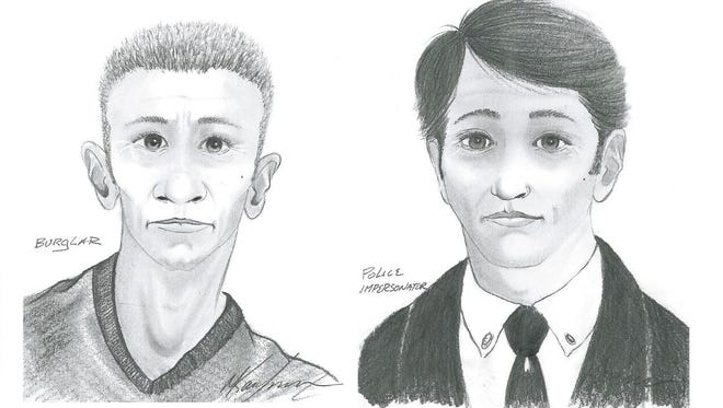Police sketches of a suspected burglar, left, and another man who allegedly falsely identified himself as a police officer.