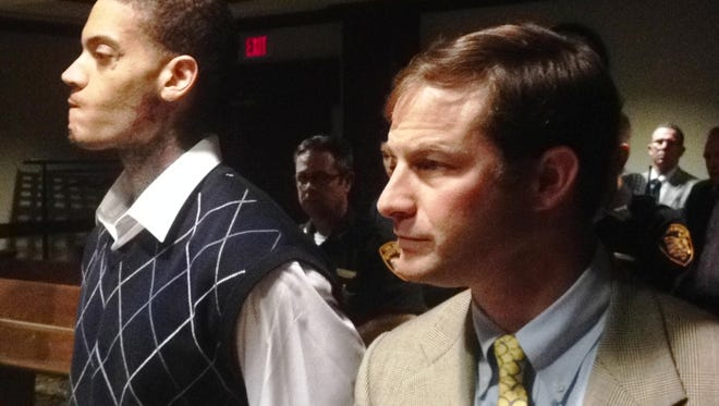 David Bell, left, with attorney Scott Rubenstein as a Hamilton County jury spared Bell from death row Friday.