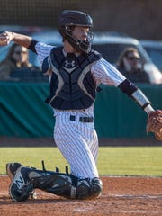 Trinity catcher Trace Bright against Montgomery Academy