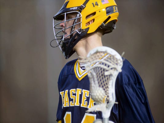 Eastern York's Conrad Rhein scored five goals and added four assists to help the Golden Knights beat South Western, 13-8, on Thursday.