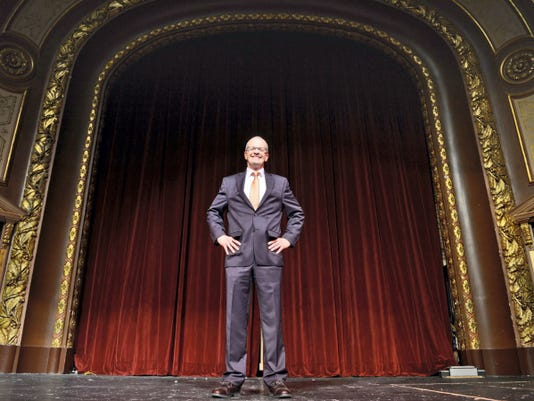 Todd Fogdall stands on the Capitol stage for a portrait on Wednesday, June 17, at the Strand-Capitol Performing Arts Center. Fogdall began his duties as the Strand-Capitol's new president and CEO the week of June 8.