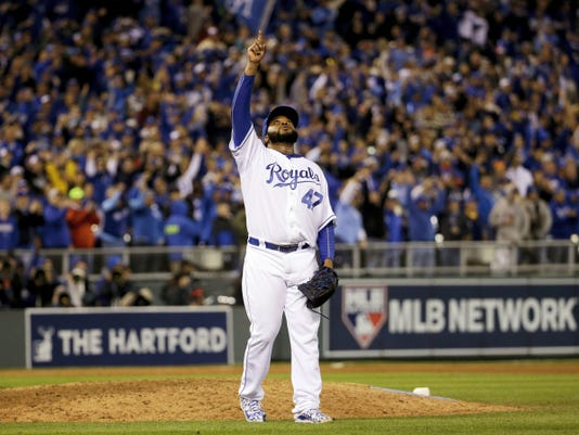 Kansas City Royals pitcher Johnny Cueto reacts after getting New York Mets' Yoenis Cespedes to fly out and end Game 2 of the World Series on Wednesday in Kansas City, Mo. The Royals won 7-1 to take a 2-0 lead in the series.