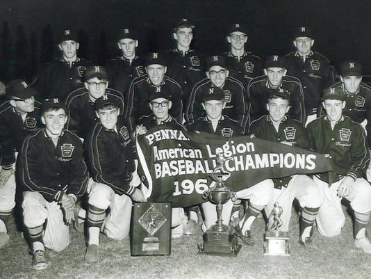 The Northeastern American Legion baseball team won the state championship in 1964. Pictured from are, front row: Ronnie Heilman, Don Gunnet, Bob Heilman, Bob Fink, Jim Yinger and Rick Stouch; second row: head coach Gary Krebs, Greg King, Larry Gross, Gary Smith, Sonny Diehl, Jim Gabert; and back row: Allen Naylor, Steve Gabert, Jim Rife, Doug King and coach Gary Strayer.