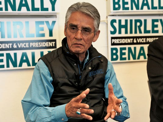 Navajo Nation presidential candidate Joe Shirley Jr. speaks about the elections on April 13 during an interview at their headquarters in Window Rock, Ariz.