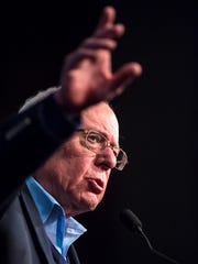 Democratic presidential candidate Sen. Bernie Sanders, I-Vt., speaks at a rally at the Palace Theater in Manchester, New Hampshire, on Monday, February 8, 2016.