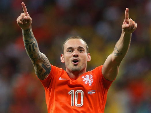 Netherlands vs. Costa Rica: Wesley Sneijder celebrates after the win.