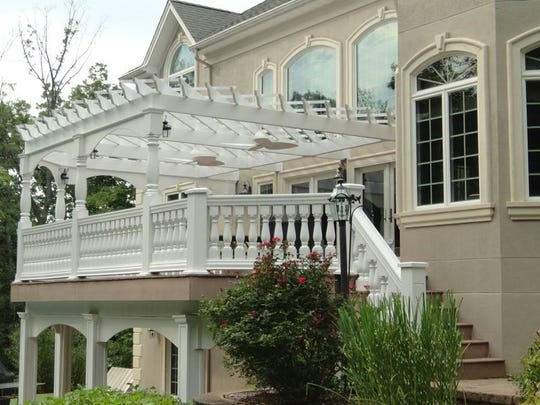 Deck with trellis over an underdeck at a home in Mahwah.