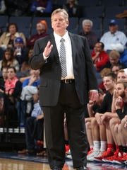 Christian Brothers University head men's basketball coach Mike Nienaber coaches his team to a 74-70 exhibition win at Memphis Nov. 12.