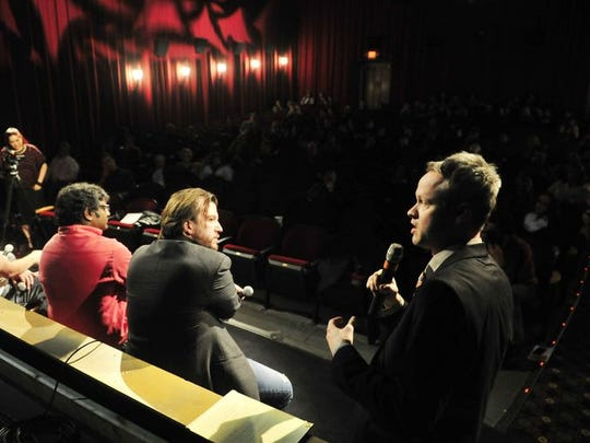 Tennesean reporter Nate Rau, speaks on the panel for the Band on the Brink event at Belcourt where the New Dylans performed Nashville, Tenn. January 27, 2015.