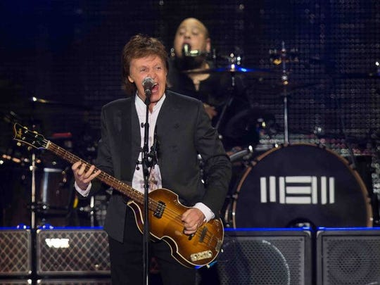 Paul McCartney performs in Dover Friday night.